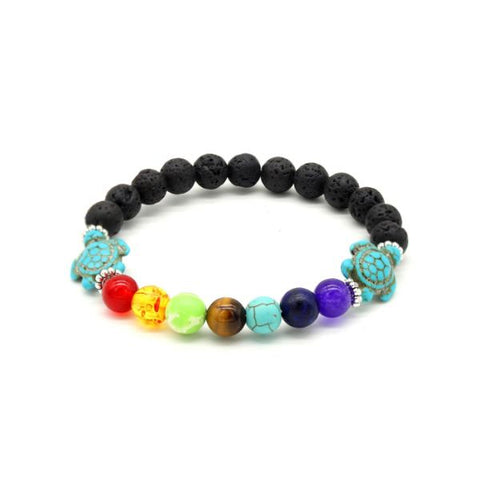 Chakra and Turtle Natural Stone Bead Bracelet