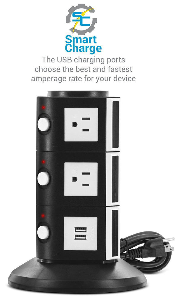 Daily Steals-Aduro Surge Power Tower Charging Station-Home and Office Essentials-Black-