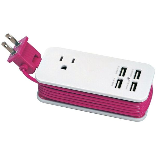 4 Port USB and Single AC Outlet Charging Station - 2 Pack-Pink-Daily Steals