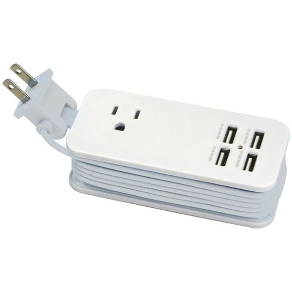 4 Port USB and Single AC Outlet Charging Station - 2 Pack-Grey-Daily Steals