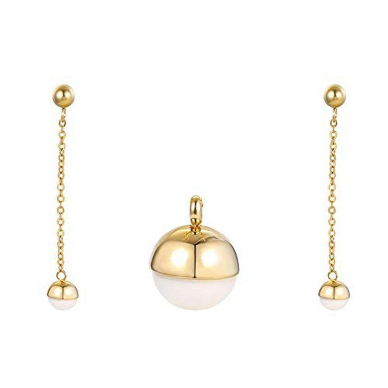Charles Delon Copper CZ 18k Gold Pendant Earrings Set for Women Jewerly Sets-