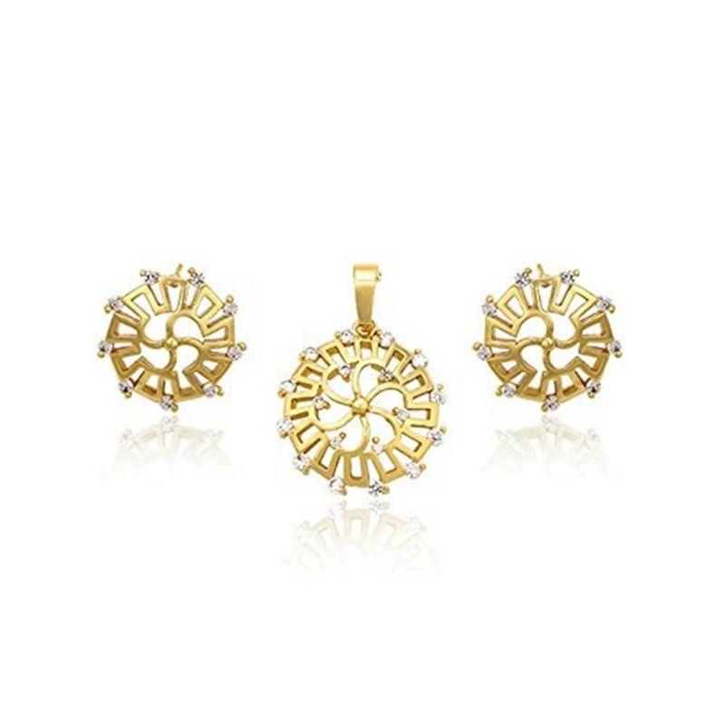 Charles Delon Copper CZ Wheel Pendant Earrings Set for Women Multicolour Jewerly Sets-