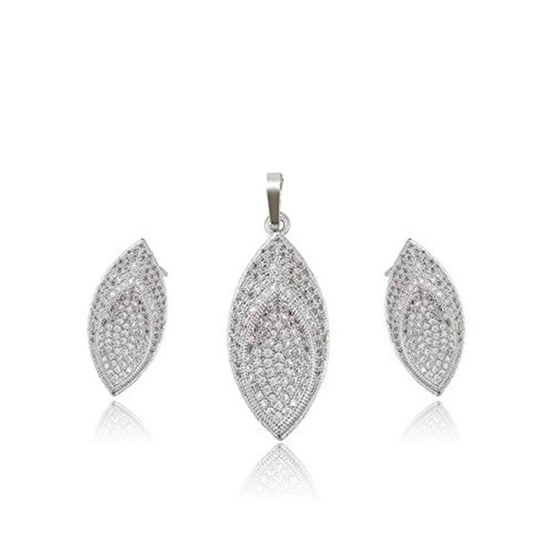 Charles Delon Cubic Zirconia Rhodium Marquise Pendant and Earrings Set for Women-