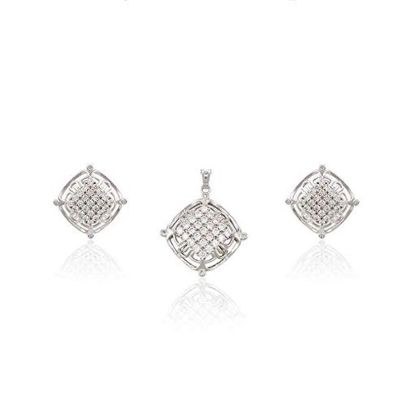 Charles Delon Cubic Zirconia Silver Cushion Pendant Earrings Set for Women-