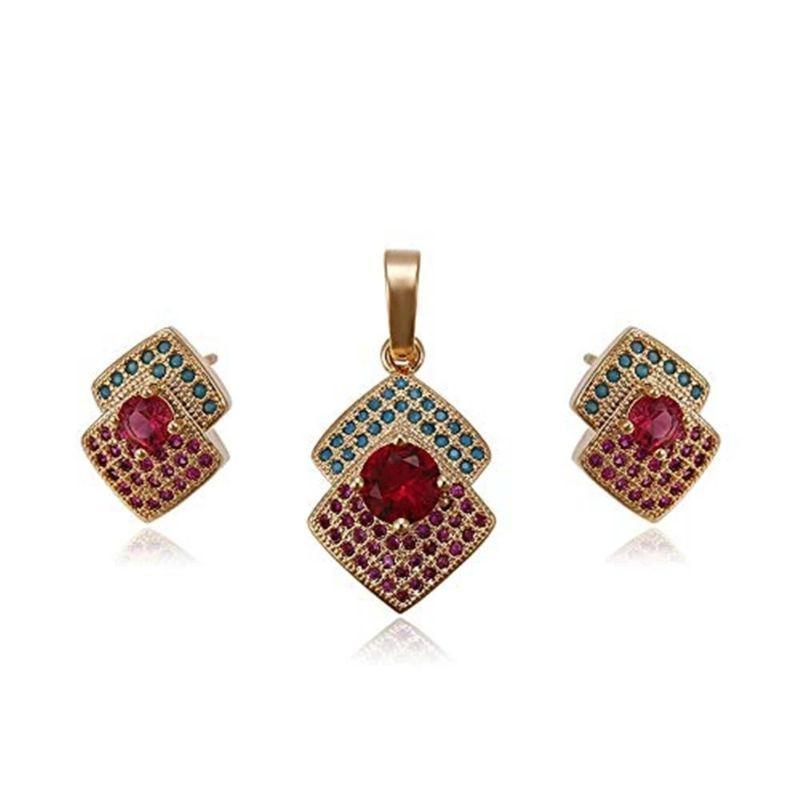 Charles Delon Double Square Pendant and Matching Stud Earrings Set for Women-
