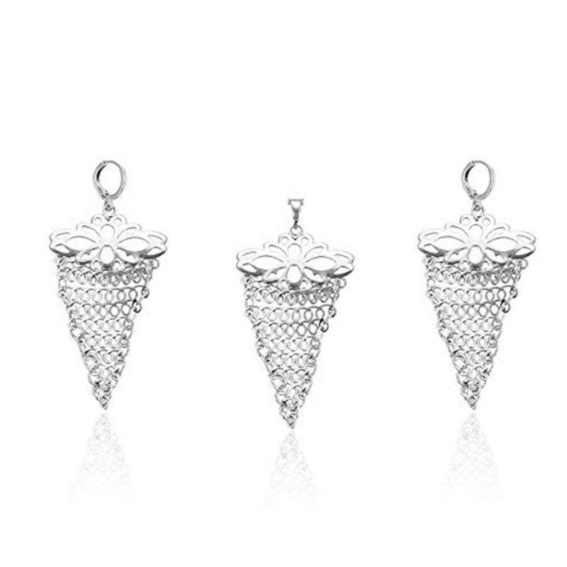 Charles Delon Copper CZ Silver Pendant Earrings Set for Women Jewerly Sets-