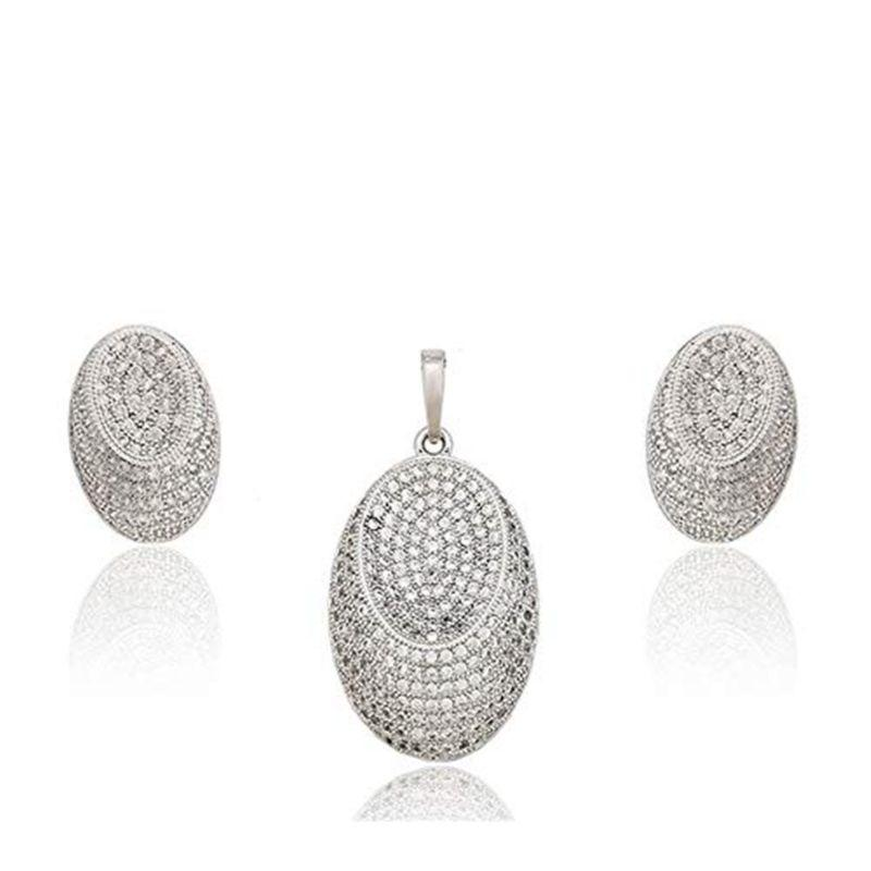 Charles Delon Elegant Oval Cubic Zirconia Pendant and Earrings Set for Women-