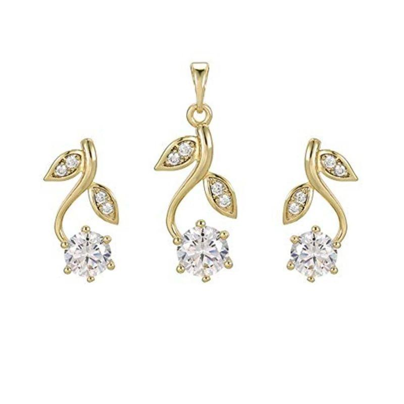 Charles Delon Flower Drop Gold Cubic Zirconia Pendant and Matching Earrings Set for Women-
