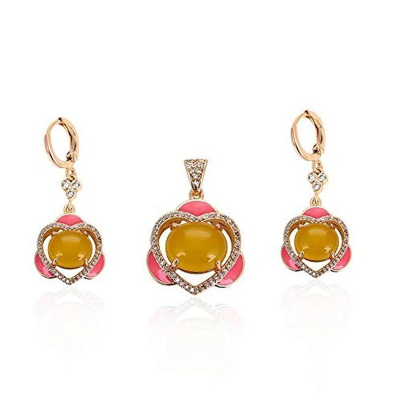 Charles Delon Gold Cubic Zirconia Floral Heart Pendant and Earrings Set for Women-
