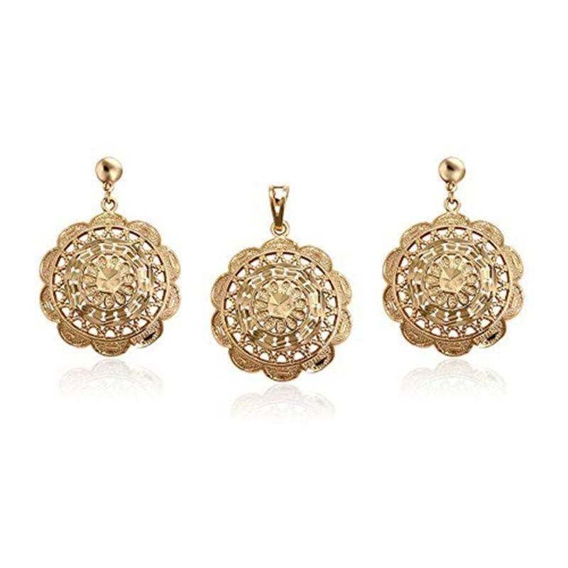 Charles Delon Gold Flower Medallion Necklace and Earrings for Women-
