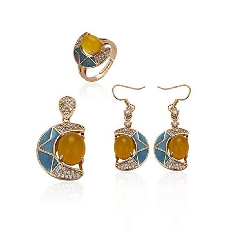 Charles Delon Gold Moon and Cubic Zirconia Pendant and Dangle Earrings Set for Women-