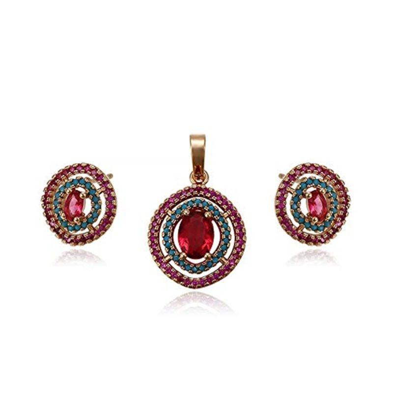 Charles Delon Gold, Red and Freen Double Hoop Pendant and Earrings Set for Women-