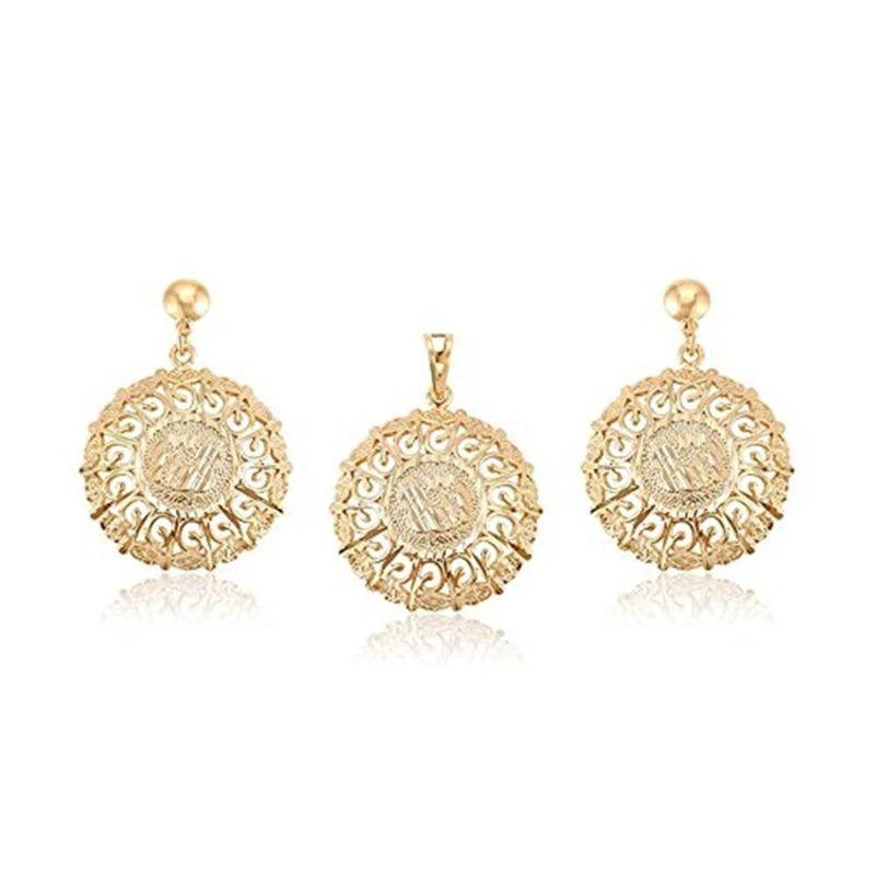 Charles Delon Golden Turn Up Medallion Pendant and Matching Earrings For Women-Daily Steals
