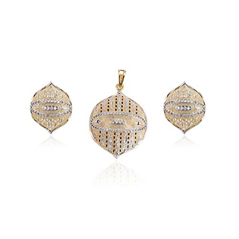 Charles Delon Lucky Two Tone Silver and Gold Pendant and Earrings Set for Women-