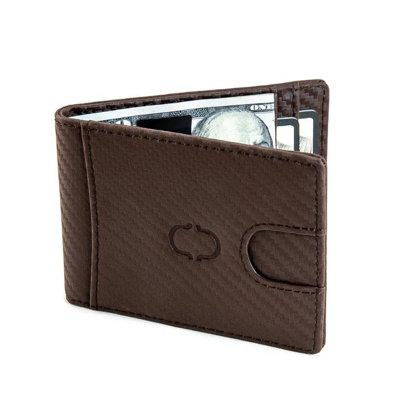 Charles Delon Men's Slim Design Black or Brown Carbon Fiber Money Clip Wallet-Brown-