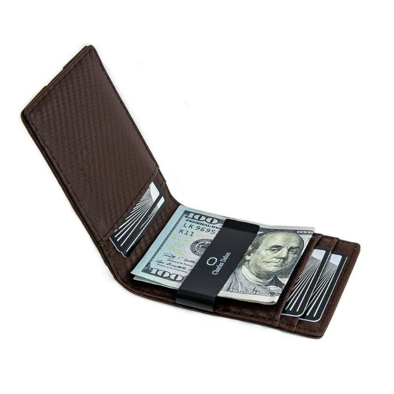 Charles Delon Men's Slim Design Black or Brown Carbon Fiber Money Clip Wallet-Black-