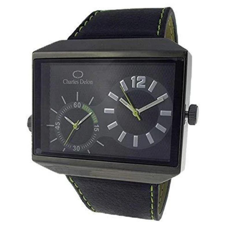 Charles Delon Men's Watches 5383 GBBE Black Green Leather Quartz Rectangle-