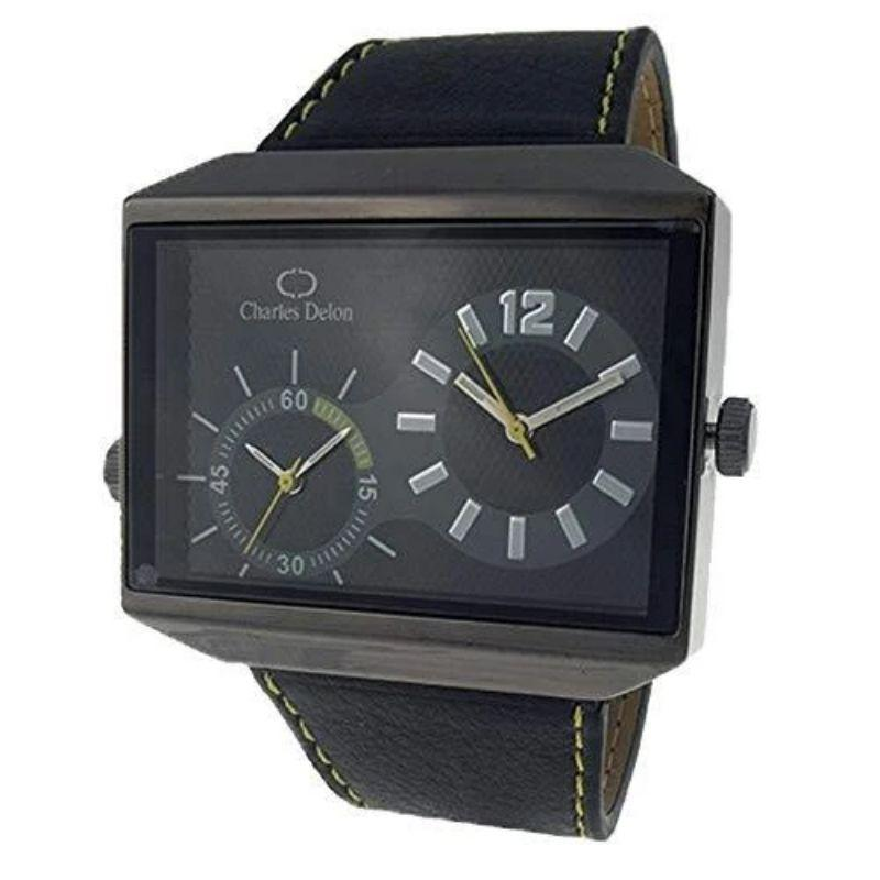 Charles Delon Men's Watches 5383 GBBY Black Silver Leather Quartz Rectangle-