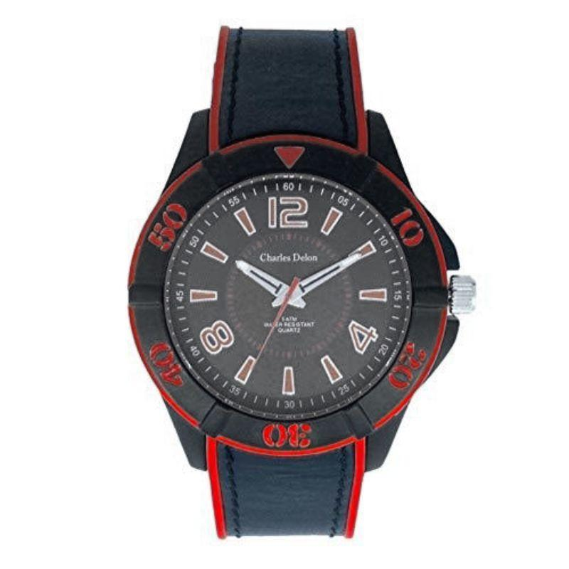 Charles Delon Men's Watches 5688 GMBR Black/Red Leather Quartz Round-