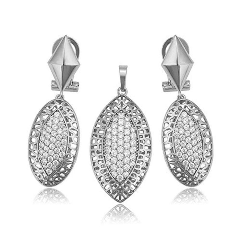 Charles Delon Silver Glam Pendant and Earrings Jewelry Set for Women-