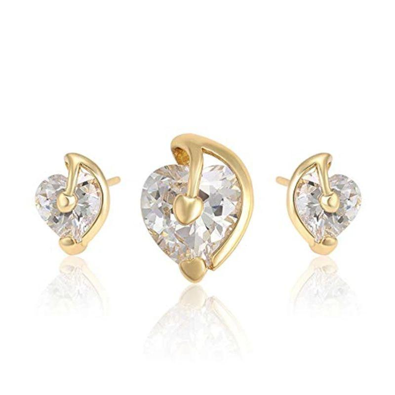 Charles Delon Silver or Gold Cubic Zirconia Heart Pendant and Stud Earrings Set for Women-Gold-
