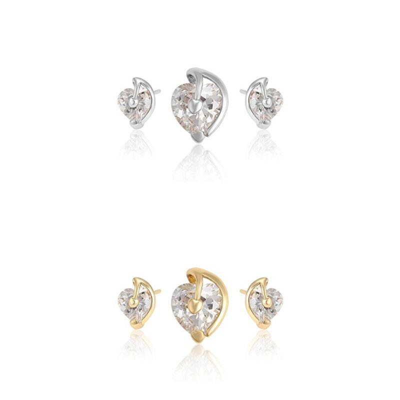 Charles Delon Silver or Gold Cubic Zirconia Heart Pendant and Stud Earrings Set for Women-Silver-