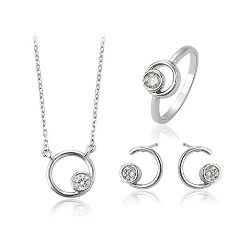 Charles Delon Solar Circles Cubic Zirconia Silver Pendant Earrings Set for Women-Daily Steals