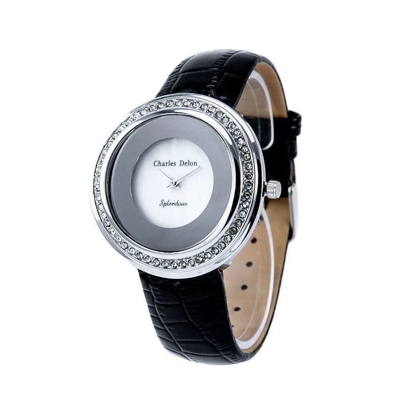 Charles Delon Women's 42mm Watch 5519 LIMB Silver/White Black Leather with Crystal Bezel Quartz-