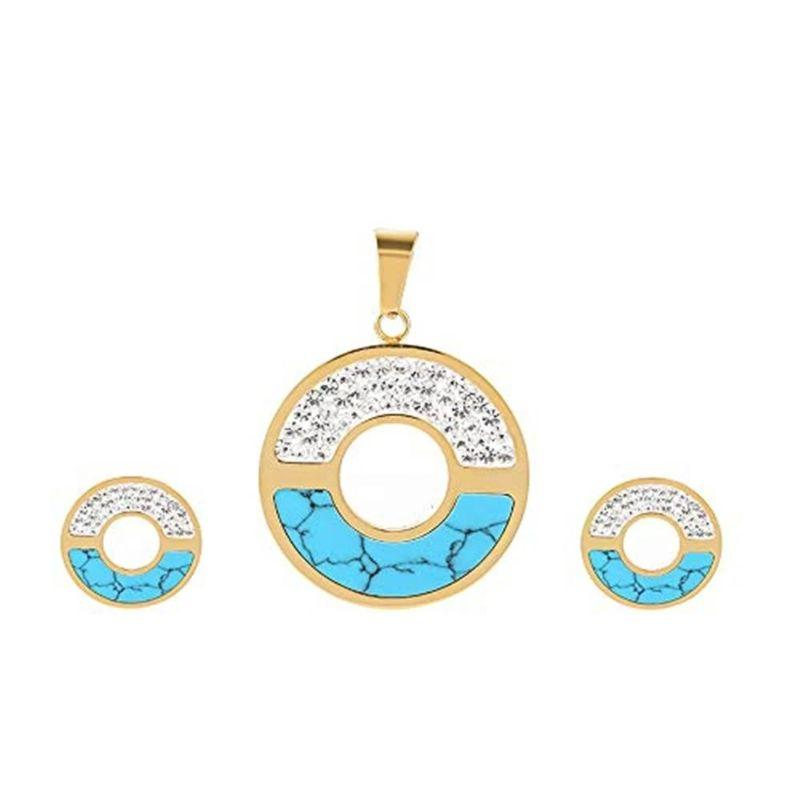 Charles Delon Women's Cubic Zirconia Circular Matching Necklace and Stud Earrings Set-Gold/Turquoise-