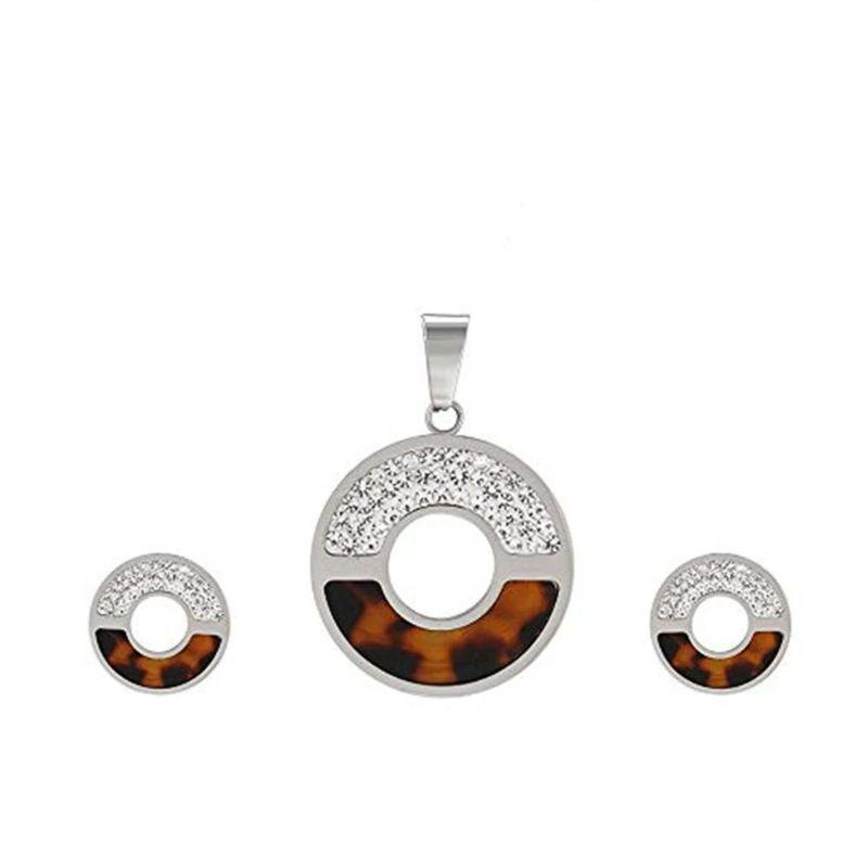 Charles Delon Women's Cubic Zirconia Circular Matching Necklace and Stud Earrings Set-Silver/Brown-