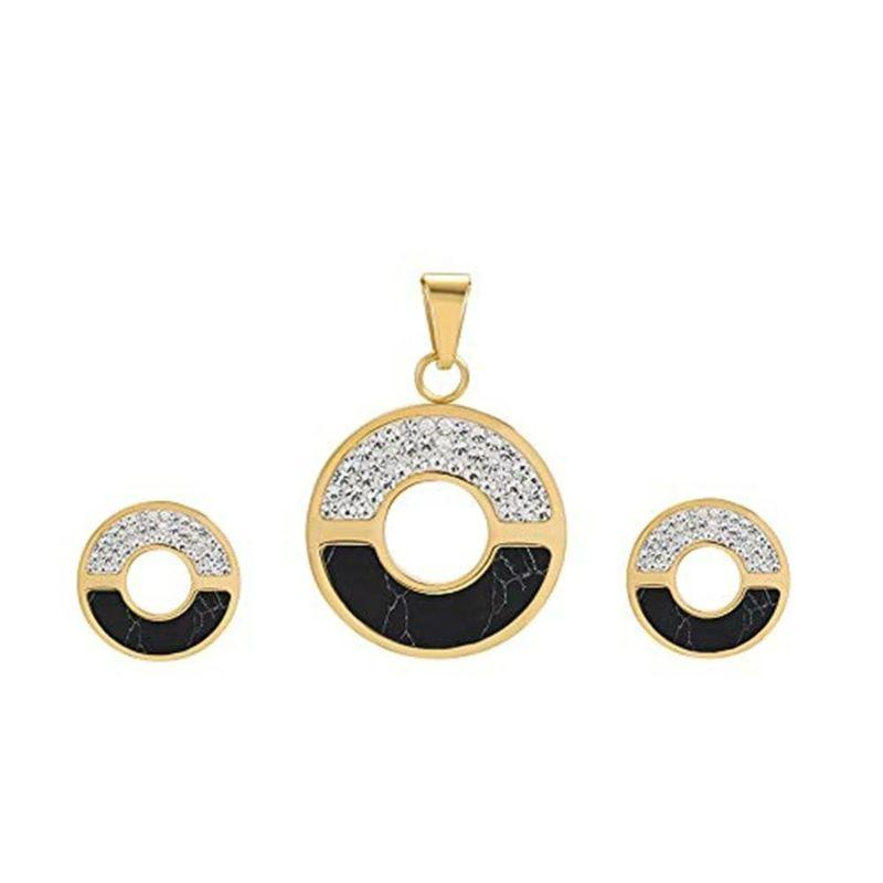 Charles Delon Women's Cubic Zirconia Circular Matching Necklace and Stud Earrings Set-Gold/Black-