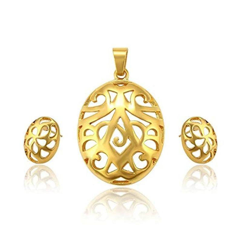 Charles Delon Women's Hollowed 18K Gold Plated Matching Pendant and Earrings Set-