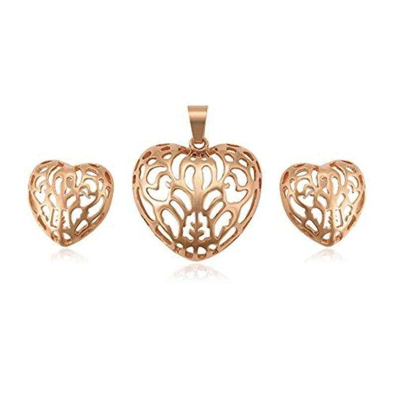 Charles Delon Women's Silver, Gold or Rose Gold Hollowed Heart Pendant and Matching Earrings-Rose Gold-