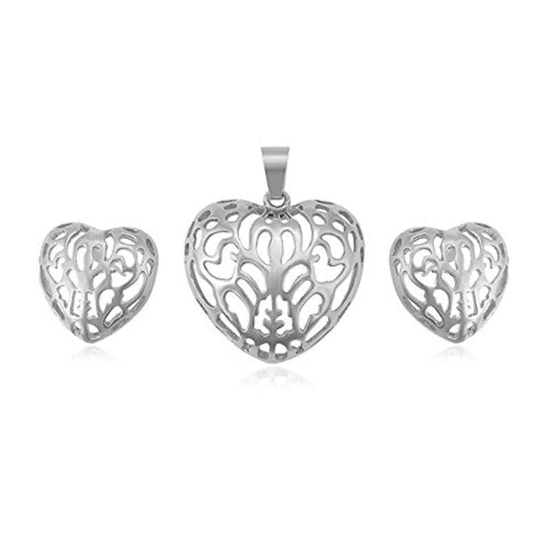 Charles Delon Women's Silver, Gold or Rose Gold Hollowed Heart Pendant and Matching Earrings-Silver-