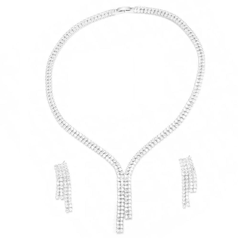 Charles Delon Women's Stainless Steel Cubic Zirconia Double Tennis Formal Earrings and Necklace Set-