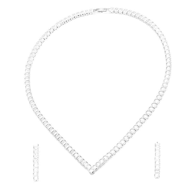 Charles Delon Women's Stainless Steel Cubic Zirconia Tennis Earrings and Necklace-