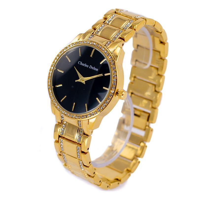 Charles Delon Women's Watch 5855 LGBW Gold Black Stainless Steel Quartz Round-