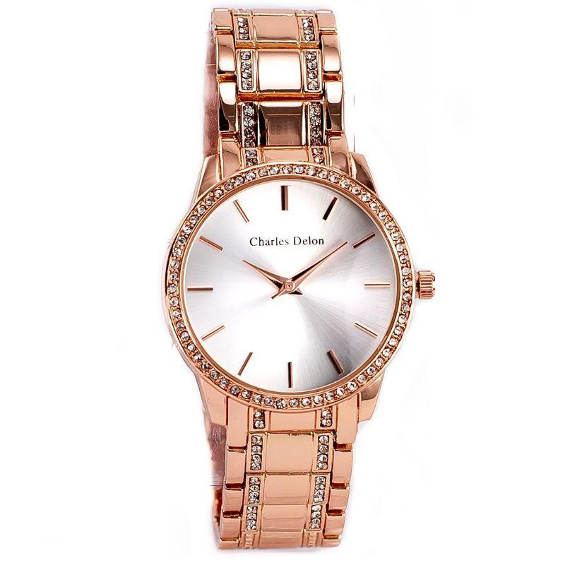 Charles Delon Women's Watch 5855 LRSW Rose Gold/White Stainless Steel Quartz-