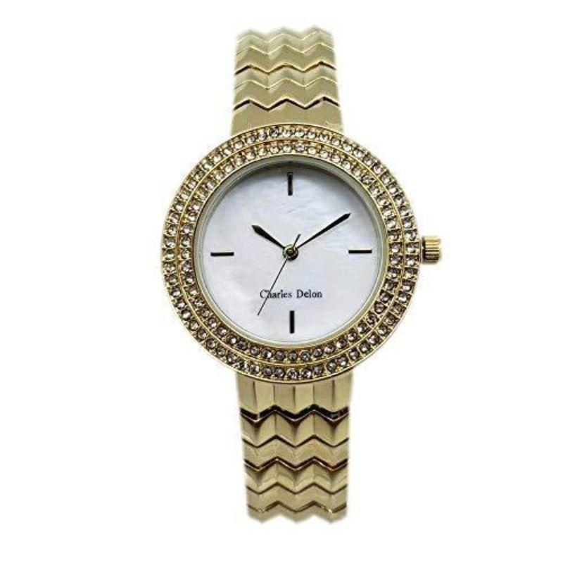 Charles Delon Women's Watches 5272 LGMW Gold and White Stainless Steel Quartz Round-