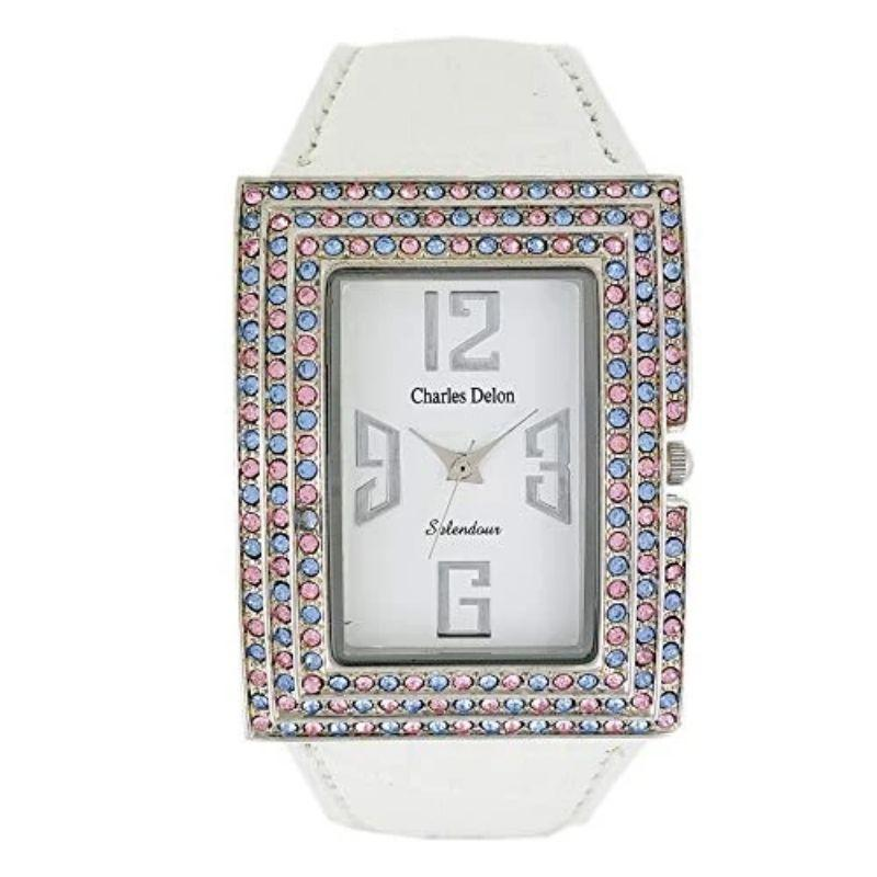 Charles Delon Women's Watches 5316 LPWX White Silver Leather Quartz Rectangle-