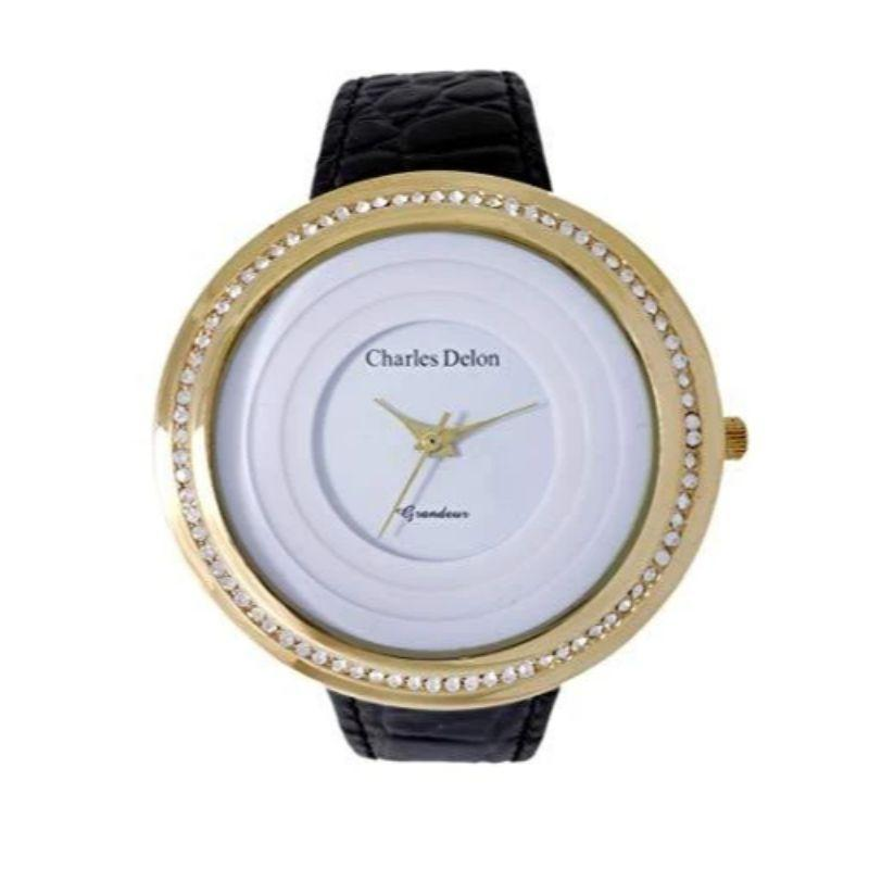Charles Delon Women's Watches 5480 LGWB Gold Crystal Bezel, Black Leather Stra, White Face-
