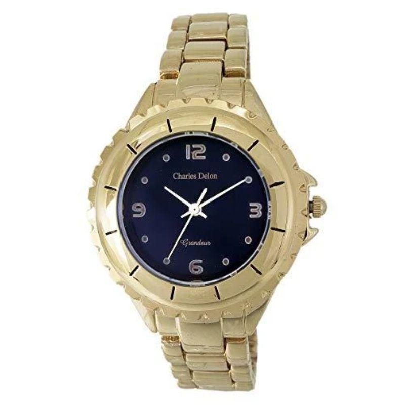 Charles Delon Women's Watches 5582 LABD Gold/Black Face Stainless Steel Quartz Round-