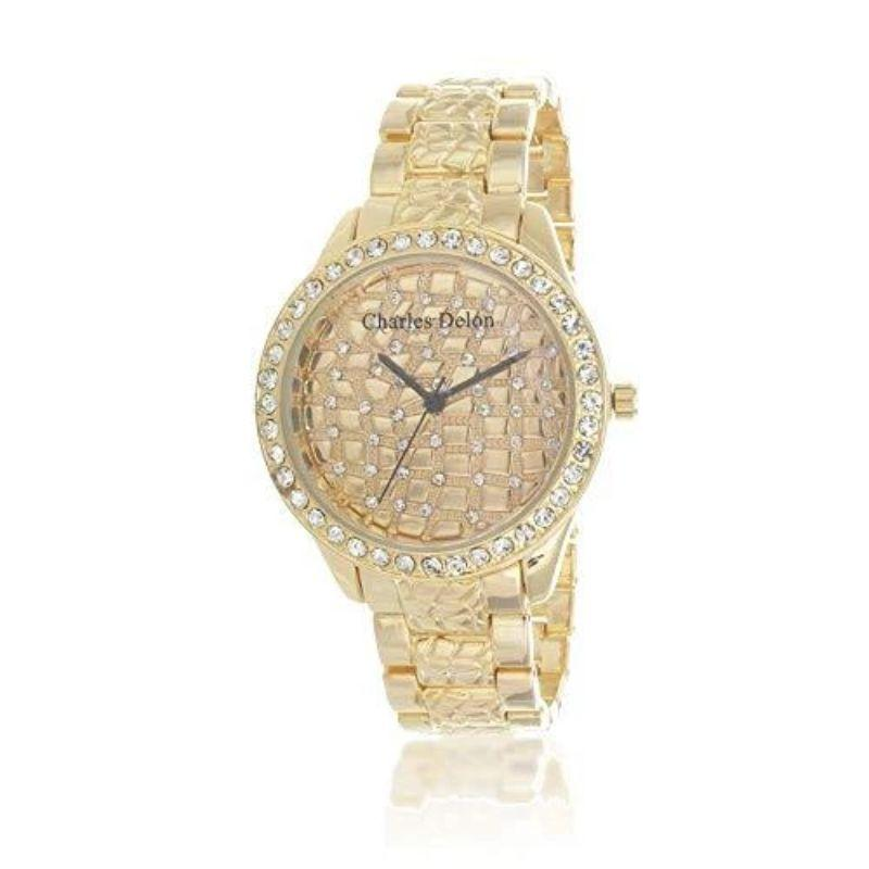 Charles Delon Women's Watches 5632 LGCW Gold Nugget 80s Style Stainless Steel Watch-