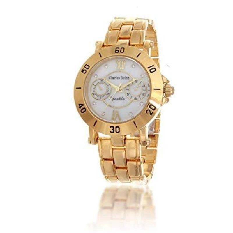 Charles Delon Women's Watches 5657 LGMD Gold/White Stainless Steel Quartz Round-
