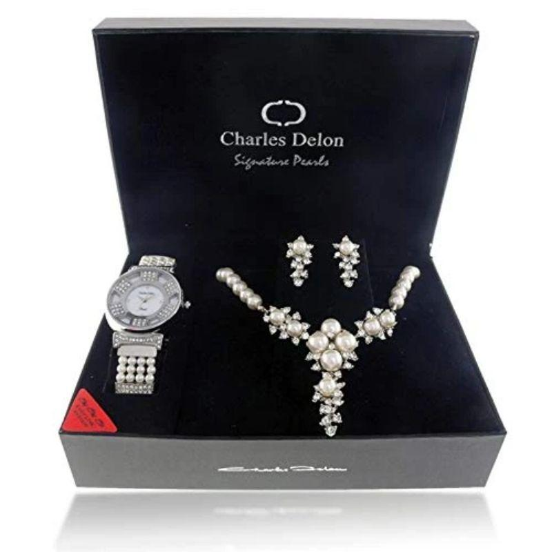 Charles Delon Women's Watches 5705 LIMB Silver and Pearl Watch with Matching Necklace and Earrings-