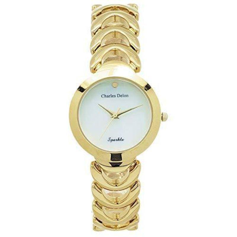 Charles Delon Women's Watches 5743 LGMD Gold, White Stainless Steel Quartz Round-