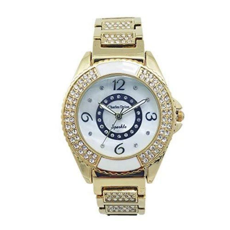 Charles Delon Women's Watches 5749 LGMW Gold, White Stainless Steel Quartz Round-