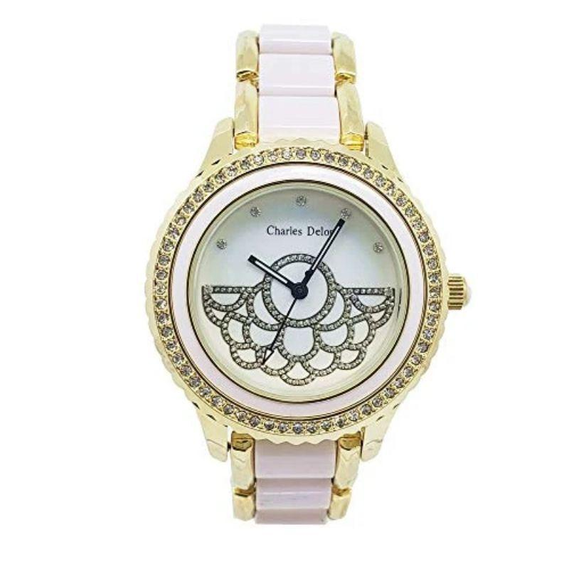 Charles Delon Women's Watches 5751 LGMW White, Yellow Gold, Crystal Bezel Stainless Steel-