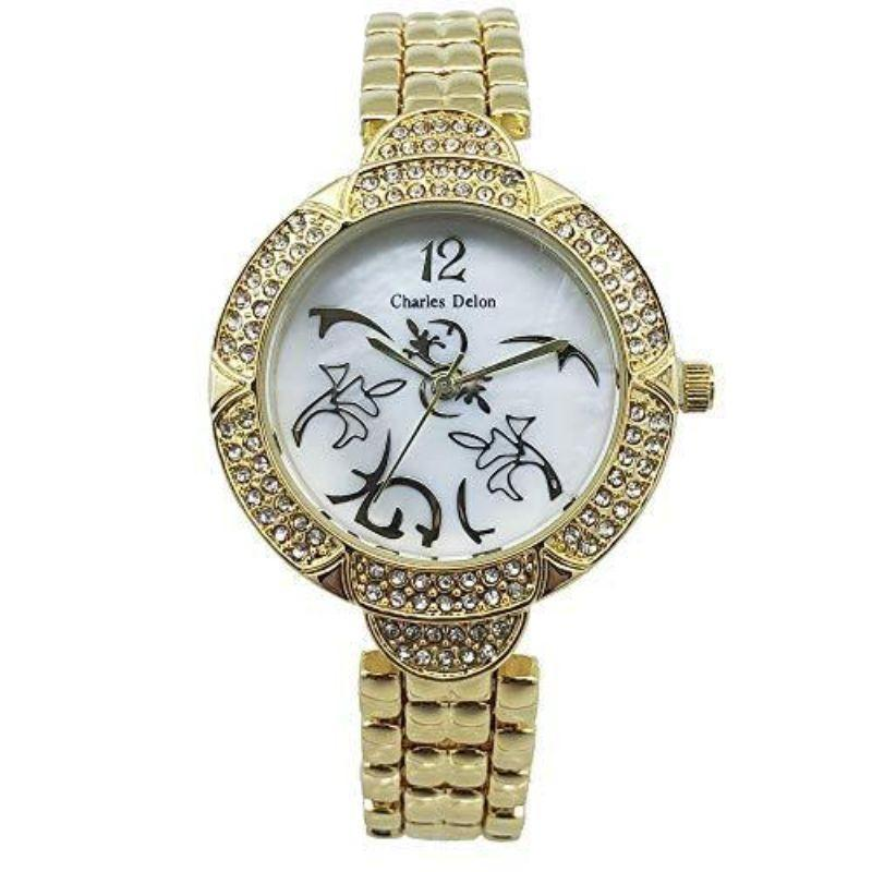 Charles Delon Women's Watches 5752 LGMW Gold and White Fancy Stainless Steel Quartz Watch-