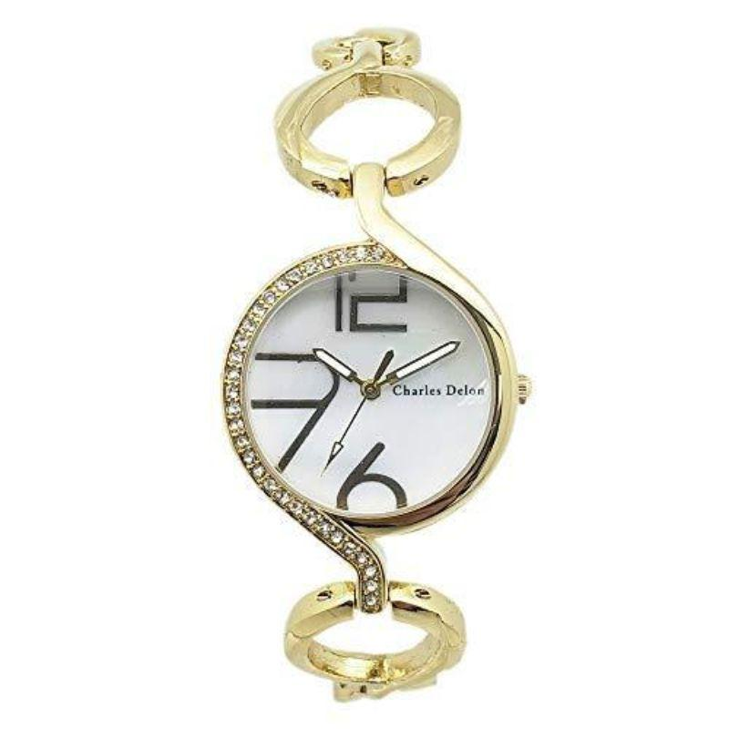 Charles Delon Women's Watches 5754 LGMW Gold and White Artsy Stainless Steel Quartz Watch-